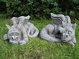 pair sleepy dragon garden statues very