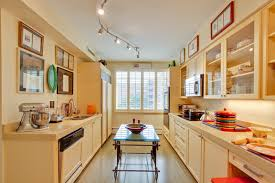 kitchens with track lighting. Example Of An Eclectic Galley Enclosed Kitchen Design In DC Metro With  Shaker Cabinets, A Kitchens Track Lighting N