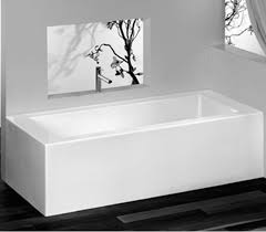 corner tub with skirt on backrest side bather faces wall