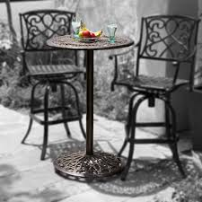 Paris Cast Aluminum Bar Height Outdoor Bistro Table Patio Table