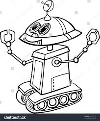 coloring book robot fresh black white cartoon ilration funny robot stock ilration