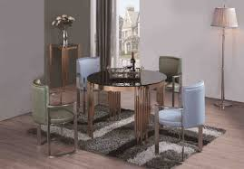 rose gold glass dining table set with black glass
