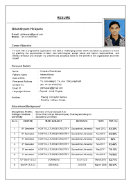 Examples Of Resumes Simple Cv Format Sample Form Resume Inside
