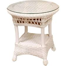 round wicker end table classic coastal resin set