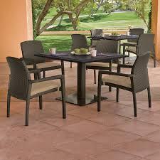 Square Pedestal Kitchen Table Tropitone Evo Woven Square 36 Pedestal Dining Table