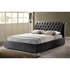faux leather platform bed. Brilliant Leather Bianca Black Faux Leather Platform Bed WTufted Upholstered Headboard Full And T