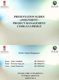 Format For Presentation Of Project Project Management Presentation Pdf Final Assignment Slides Format