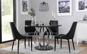gallery savoy round black marble and chrome dining table with 4 modena black chairs
