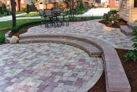 two level brick patio outdoor gardens