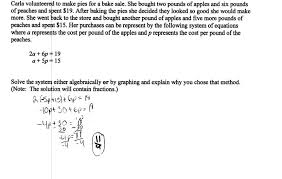 knockout apples and peaches students are asked to solve a system of systems equations word problems