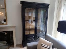 vintage wood display cabinet w glass doors