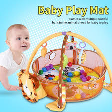 Baby Kids Game Play Activity Gym Mat Crawling Carpet with Safety Guard Mesh Colorful Balls Toys