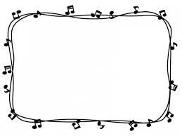 音符と手書き線の白黒囲みフレーム飾り枠イラスト 無料イラスト