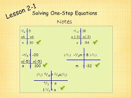 2 solving one step equations lesson 2 1 solving