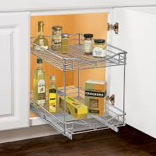 Tiered Shelves For Cabinets Lynk Roll Out Double Shelf Pull Out Two Tier Sliding Under