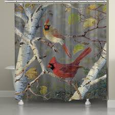 laural home birch tree cardinals shower curtain 71 inch x 74 inch