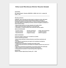 Resume Sample For Warehouse Worker Warehouse Worker Resume Template Free Samples Examples