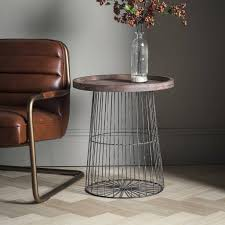wood and metal wire circular side table furniture