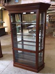 display cabinet wooden glass display with led lights and glass shelves dust free