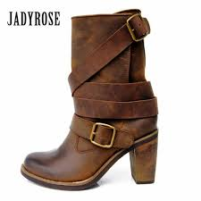 jady rose vintage brown women genuine leather mid calf boot chunky high heel platform boots straps buckle decor martin botas black boots boots pharmacy from