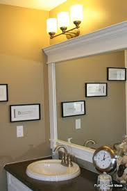 frame bathroom mirror easy. for the kids bathroom.inexpensive and easy way to upgrade your plain bathroom mirror-- use mdf trim crown moulding build a frame around mirror. mirror o