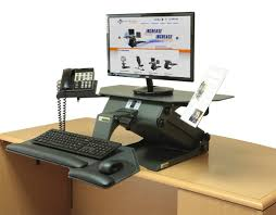 electric executive standing desk in the upright position