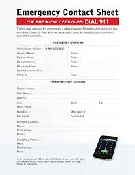 Children Emergency Contact Form Under Fontanacountryinn Com