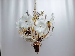 large brass crystal chandelier with 12 glass flowers