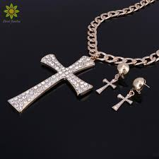 new fashion jewelry set gold metal chunky chain clear crystal big cross pendant necklace set for women wedding hair jewelry wedding jewelry al from