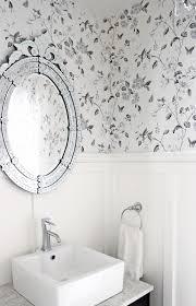Powder Room Wallpaper Gray French Powder Room Boasts Gray Damask Wallpaper On A Wall