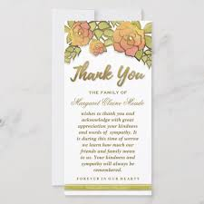 Thank You Sympathy Cards Floral Golden Elegant Thank You Sympathy Card