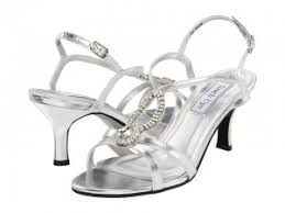 touch ups mindy nice short heel sandals in silver or white satin