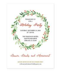 Christmas Inviations Watercolor Holly Wreath Christmas Party Invitation