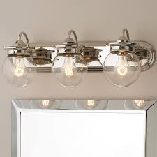 traditional clear glass globe bath light 3 light