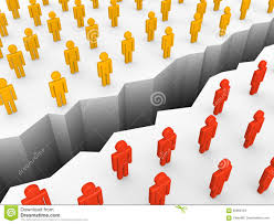 separate people. two groups of people separated by the chasm. separate e