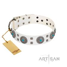blue sapphire designer fdt artisan white leather dog collar with round plates and square studs
