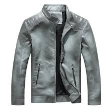 chic men fashion cotton padded grant autumn and winter faux leather jacket