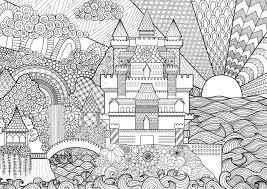 背景大人のぬりえデザイン要素に Zendoodle 城の風景です