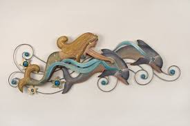 on dolphin wall art metal with mermaid with dolphin friends fantasy metal wall hanging