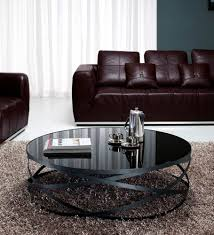 modern black round coffee table glass