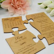 honey brown wooden puzzle wedding invitation three piece puzzle including save the date