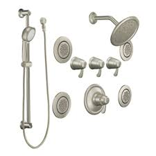 brushed nickel shower system. Moen Exacttemp Brushed Nickel 3-Handle Vertical Shower System Trim Kit With Rain Showerhead