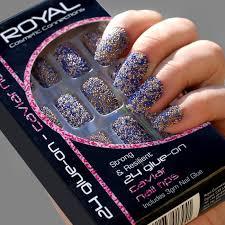 Royal Umělé Nehty Nalepovací Barevné Perličkové S Lepidlem 3g Caviar Nail Tips 24 Glue On False Nails Tips 24ks