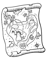 Small Picture Free Treasure Map Coloring Page