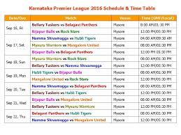 Learn New Things Karnataka Premier League 2016 Schedule
