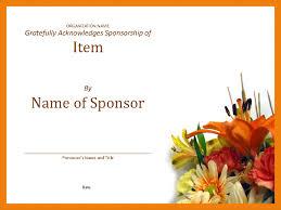Certificate Of Appreciate Certificate Of Appreciation To Sponsor