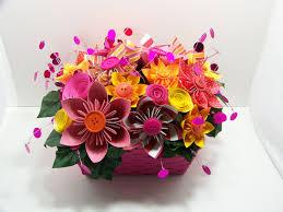 Paper Flower Arrangements Pink Orange Kusudama Paper Flower Arrangement In A Pink