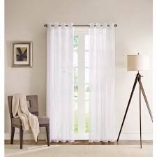 Amelie white wash shabby chic country Chandelier Lighting Madison Park Clarion White Sheer Flame Retardant Grommet Single Curtain Panel Home Depot Shop Madison Park Clarion White Sheer Flame Retardant Grommet Single