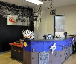 office halloween decorations. Office:Great Looking Halloween Decoration For Office With Blue Table And Laminated Wooden Floor Decorations O