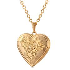 photo frame memory locket pendant necklace silver gold color romantic love heart vintage rose flower jewelry women gift p326